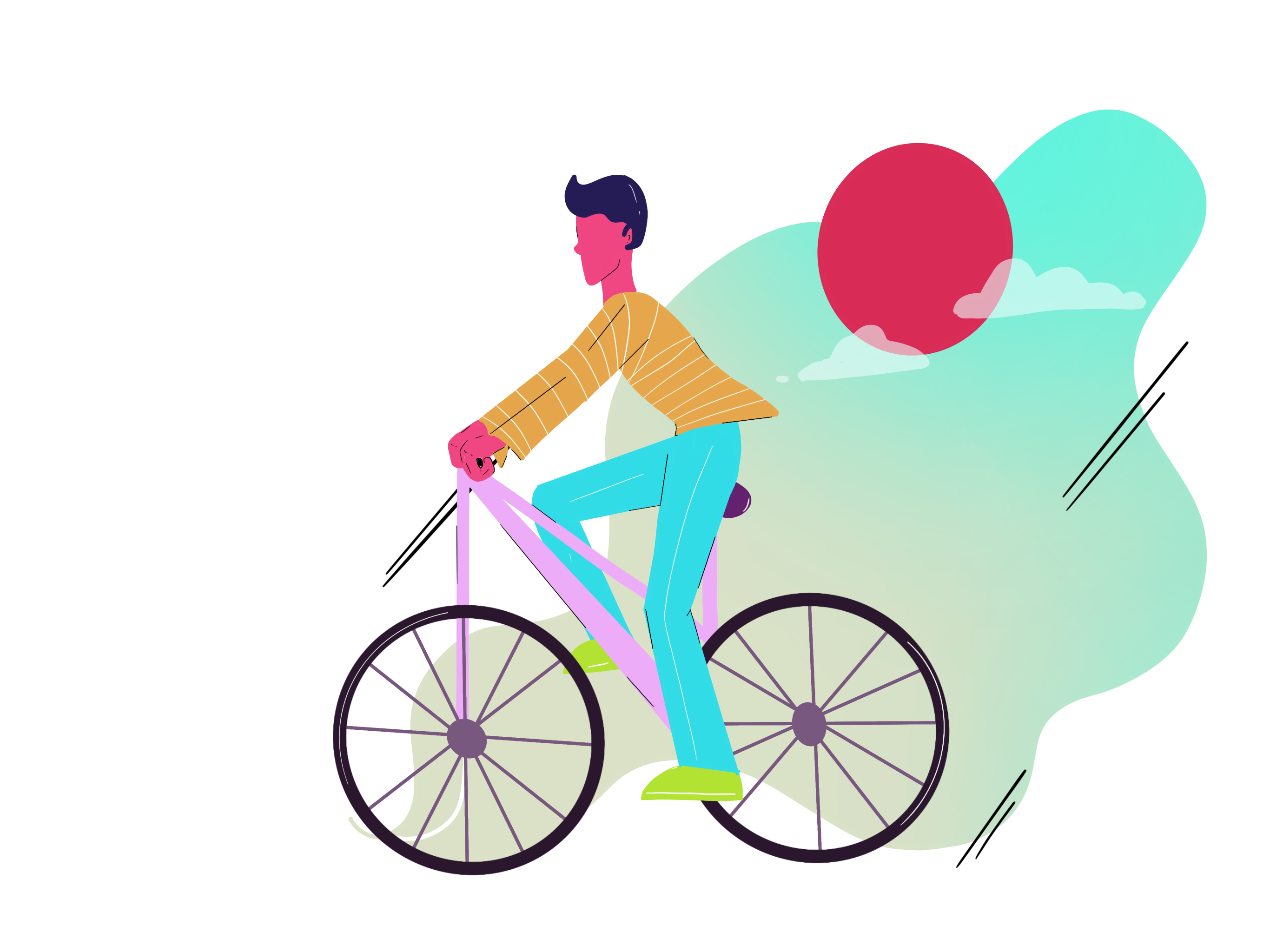An illustration of a man riding a bike.