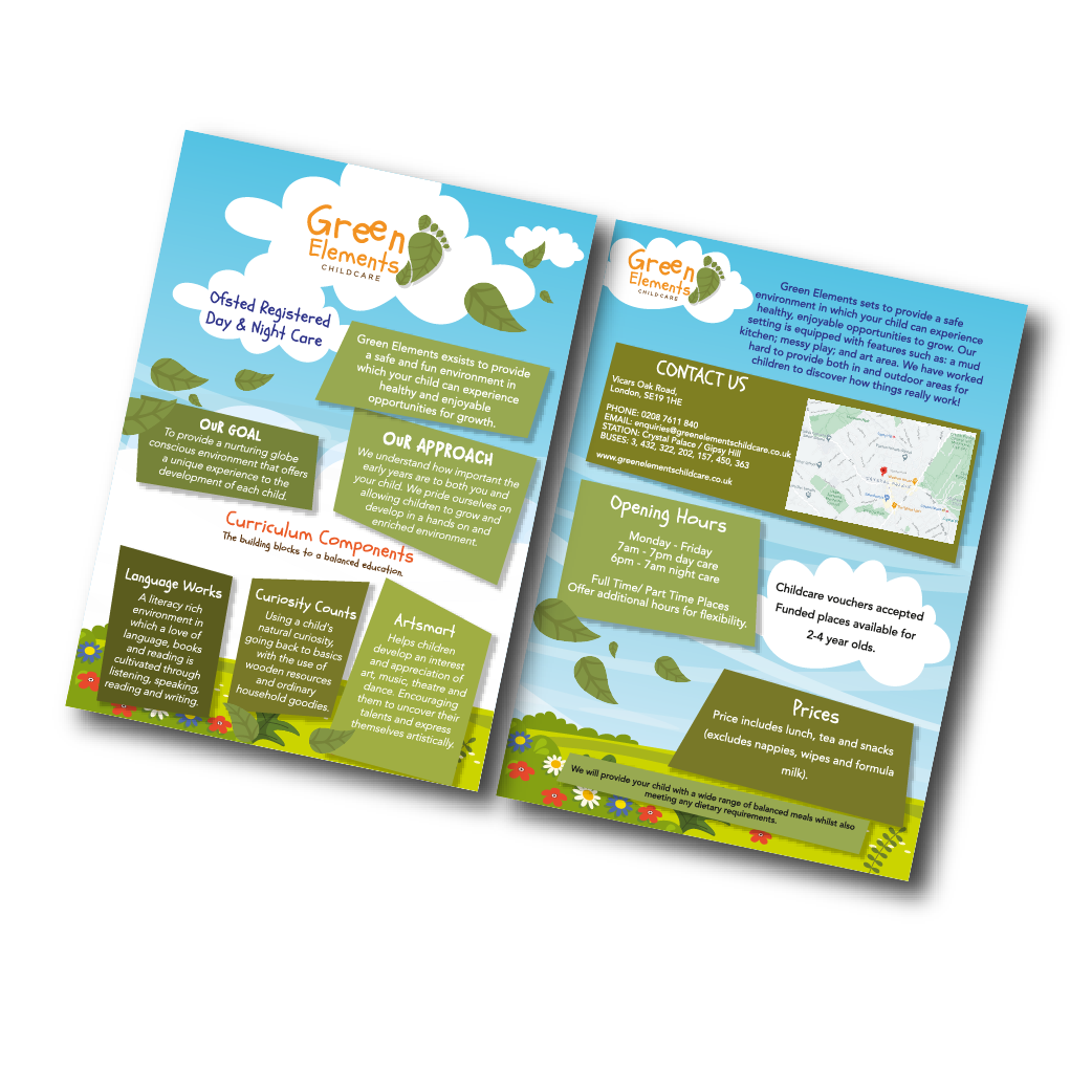 Green Elements Childcare leaflet